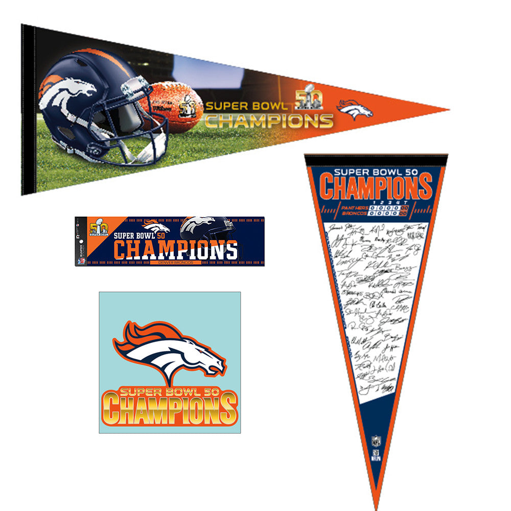 2016 Denver Broncos Super Bowl XL (50) Champions Pennant Flag Decal Bumper Sticker Gift Pack