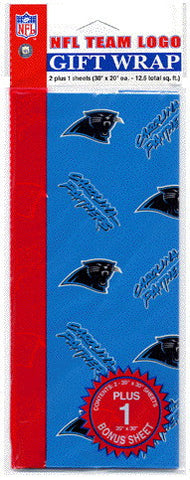 Carolina Panthers Wrapping Paper 20 Square Foot Flat Pack