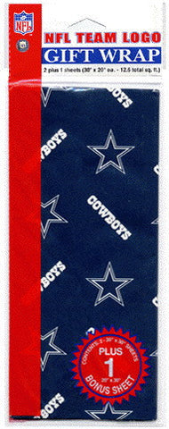 Dallas Cowboys Wrapping Paper 20 Square Foot Flat Pack