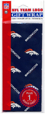 Denver Broncos Wrapping Paper 20 Square Foot Flat Pack
