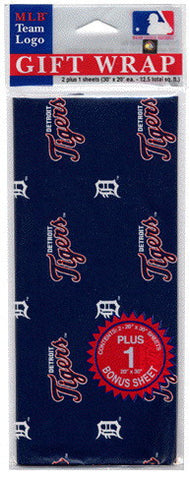 Detroit Tigers Wrapping Paper 20 Square Foot Flat Pack
