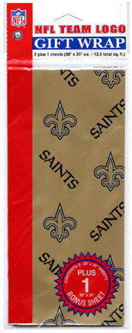 New Orleans Saints Wrapping Paper 20 Square Foot Flat Pack