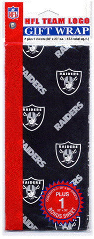 Oakland Raiders Wrapping Paper 20 Square Foot Flat Pack