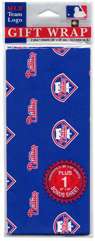 Philadelphia Phillies Wrapping Paper 20 Square Foot Flat Pack