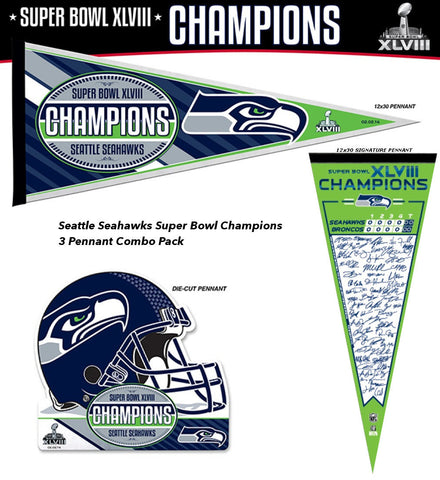 Seattle Seahawks Super Bowl XLVIII 2014 Champions 3 Pennant Combo Pack