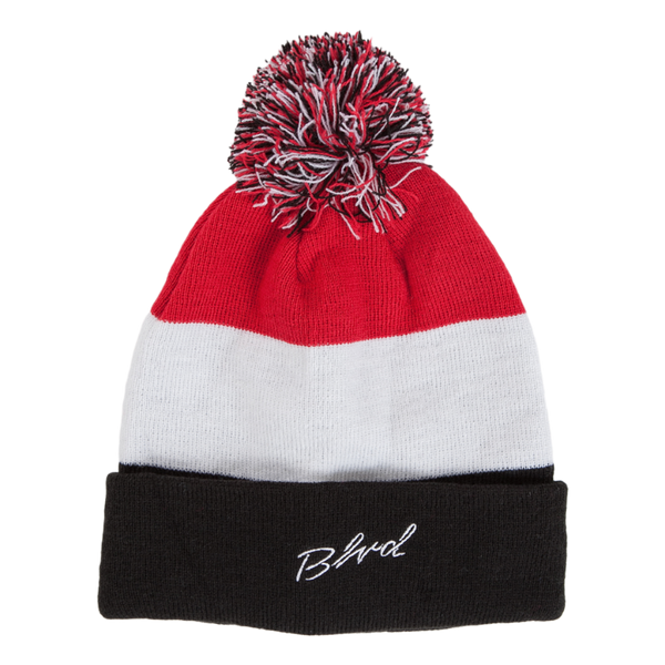 Tri-Color Pom Beanie - BLVD Supply inc