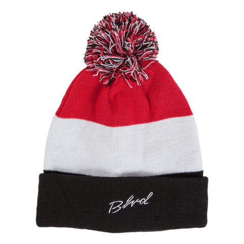 Blvd Supply Tri-Color Pom Beanie - BLVD Supply inc