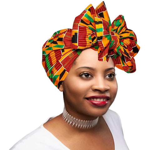 "🎁 ONE DAY SALE - KENTE Extra Long 72""×22"" Headwrap ANKARA Dashiki African Print Head Wraps/Scarfs for Women - Green, Bla - BLVD Supply inc"