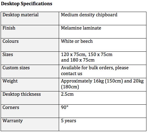 Standing Desk Melamine Desktop Specification