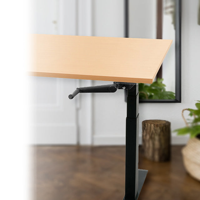 Lady Standing at Sit-Stand Bamboo Desk