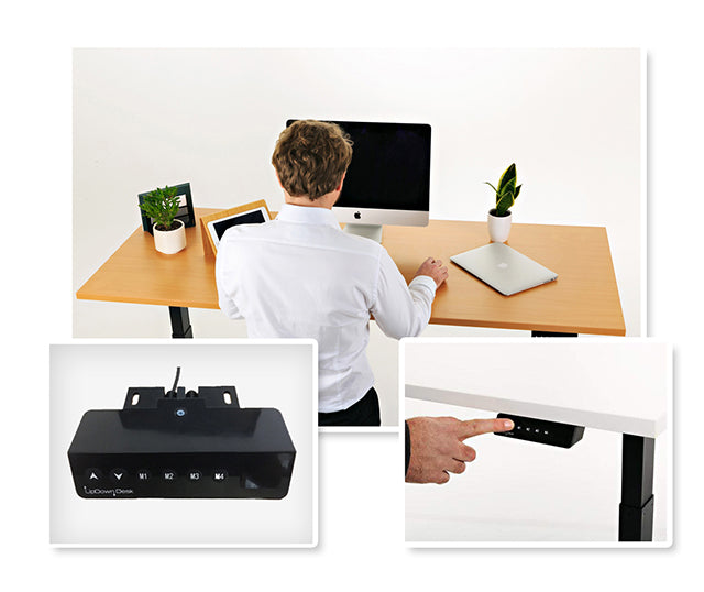 Man Standing at Melamine Sit-Stand Desk and Control Boxes