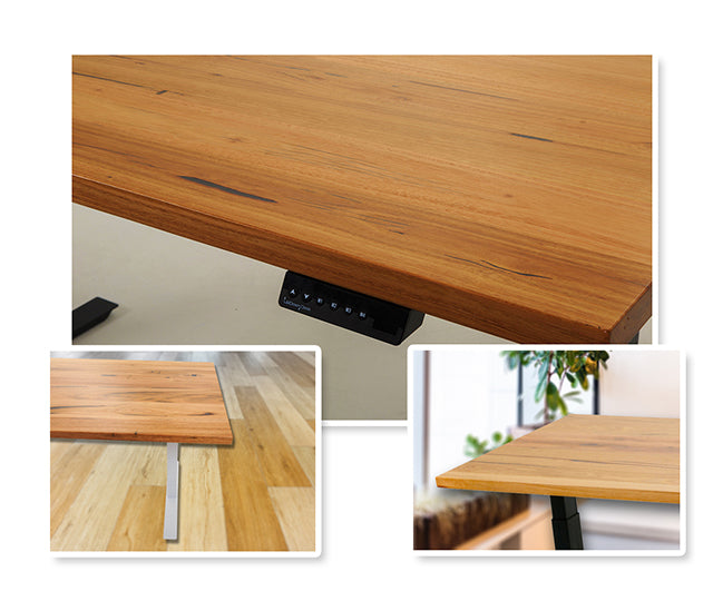 Various Shots of Bamboo Sit-Stand Desk