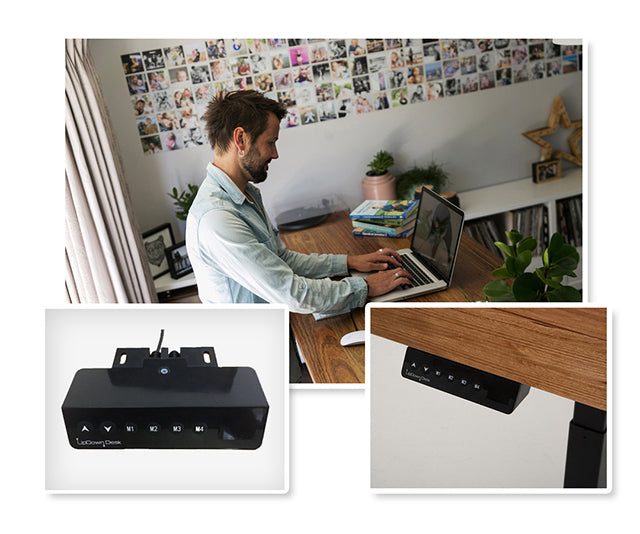 Man at Recycled Messmate Sit-Stand Desk with Control Boxes