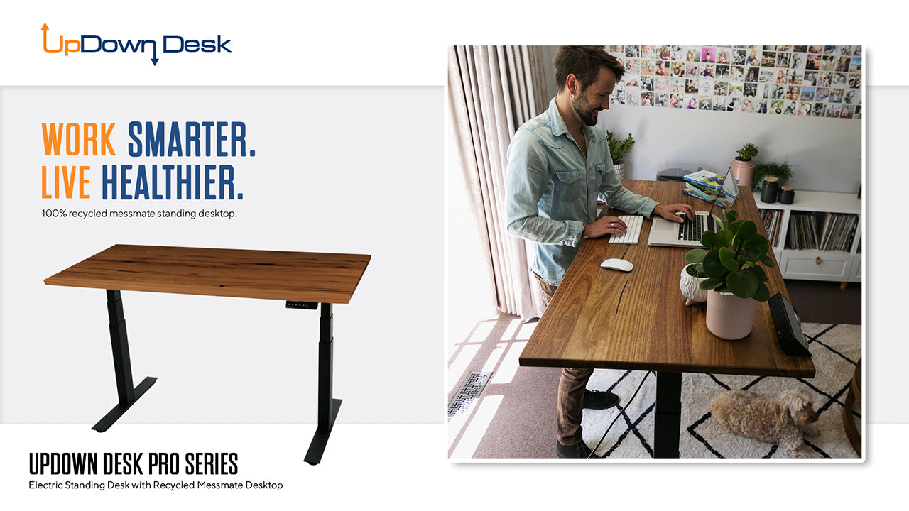 Man Standing at Recycled Messmate Sit-Stand Desk