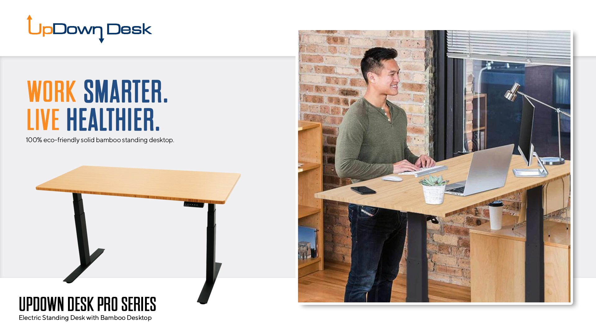 Man Standing at Bamboo Sit-Stand Desk