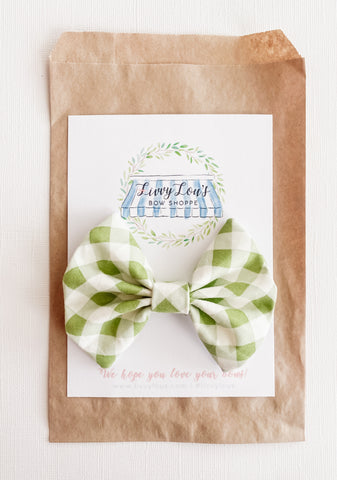 Boys Spring Green Gingham Bow Tie