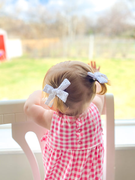 Coral Gingham Mini Livvy Pigtail Set