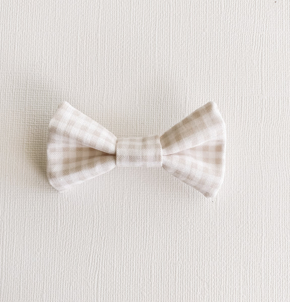Taupe Gingham Infant Bow Tie/Onesie Bundle
