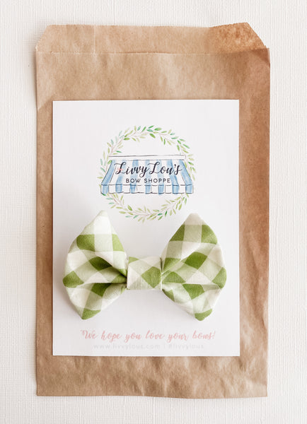 Toddler Spring Green Gingham Bow Tie