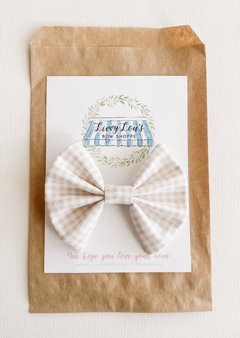Boys Taupe Gingham Bow Tie