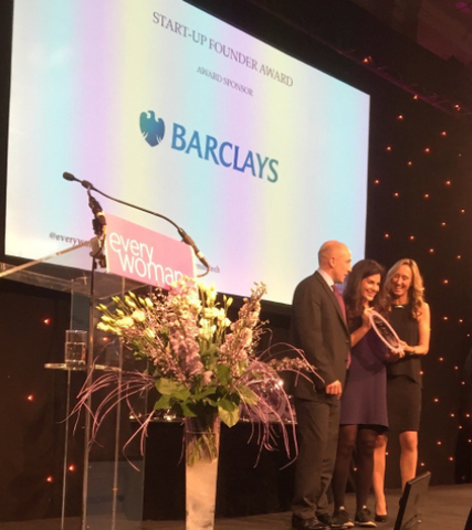 Sophie Deen receiving the Barclays award