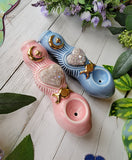 Angel Aura Amethyst Heart Deluxe Pink and Blue Pipe with Gold Triple Moon Glow in the Dark Porcelain Smoking Pipe