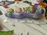 Spirit Aura Cactus Quartz Deluxe Rainbow Purple Pipe with Succulent, Mermaid, Turtle, Shell Detail, Glow in the Dark Porcelain Pipe