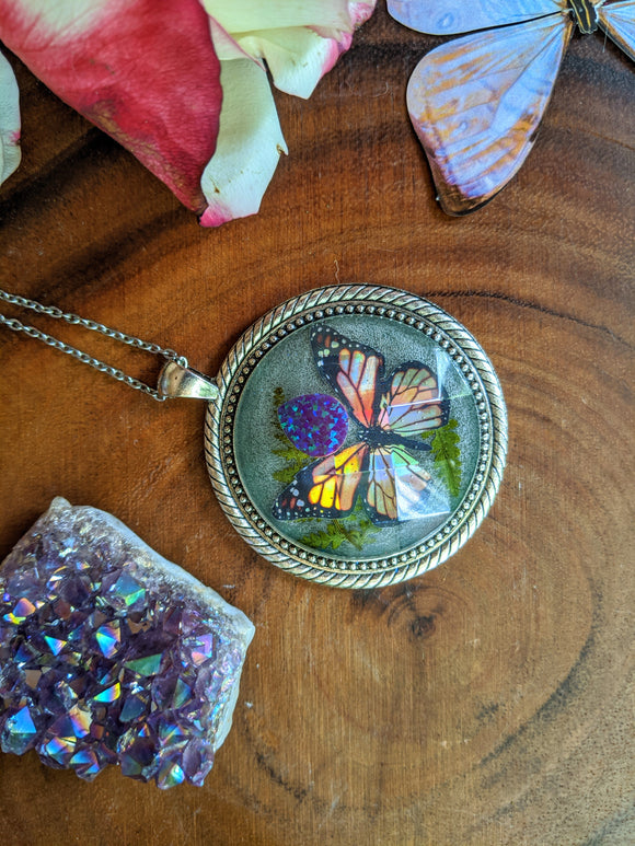 Resin Butterfly necklace, Purple Opal Crystal Pendant, Monarch Butterfly