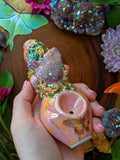 Aura Spirit Cactus Quartz Rainbow Pink Deluxe Sea Turtle Rainbow Pipe Gold Filigree Gold Butterfly, Glow in the Dark Porcelain Pipe