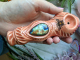 Labradorite Premium Orange/Red Pipe with Bee Glow in the Dark Porcelain Pipe