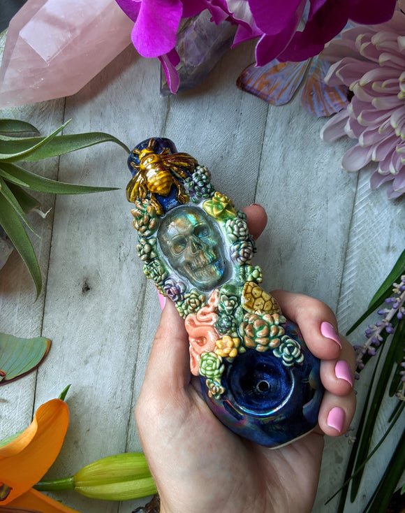 Carved Skull Labradorite Deluxe Rainbow Black Pipe with Succulents,Sea Turtle, Snake, Glow in the Dark Porcelain Pipe