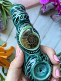 Ammonite Fossil Perfect Pipe, Teal Pipe, Crystal Pipe, Unique Pipe, Glow in the Dark Pipe, Glass Smoking Pipe, Glass Pipe