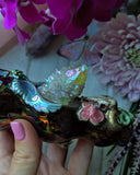 Aura Spirit Cactus Quartz Rainbow Black Deluxe Rainbow Pipe Bull Skull, Glow in the Dark Porcelain Pipe