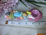 Blue Larimar Deluxe Rainbow Pink/Purple Pipe, with Turtle, Succulents Details, Glow in the Dark Porcelain Smoking Pipe