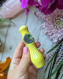 Purple Amethyst Moon Chillum Yellow Pipe with Glow in the Dark Porcelain Smoking Pipe