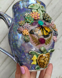 Monarch Butterfly and Opal Crystal Mug, Golden Whale, Purple Mug Porcelain Rainbow Iridescent Mug Porcelain Mug