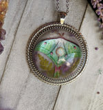 Luna Moth Resin Necklace, White Opal Crystal Pendant