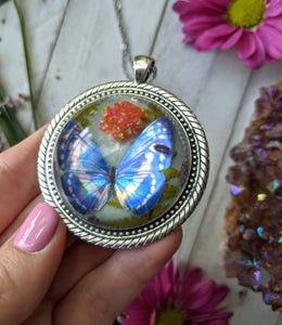 Blue Butterfly Resin Necklace, Orange Opal Crystal Pendant