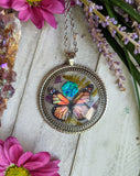 Monarch Butterfly Resin Necklace, Blue Opal Crystal Pendant