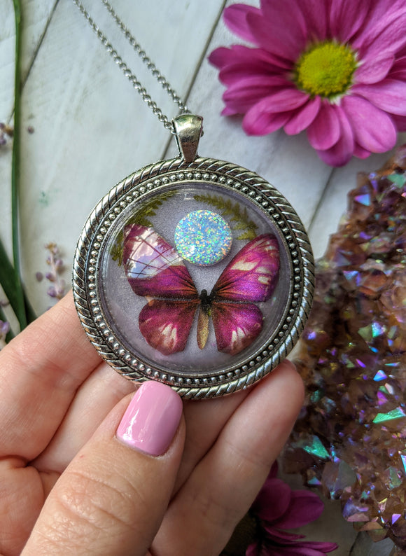 Pink Butterfly Resin Necklace, Orange Opal Crystal Pendant