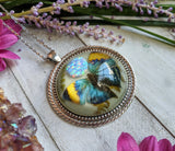 Blue/Yellow Butterfly Resin Necklace, light Blue Opal Crystal Pendant
