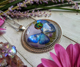Blue Butterfly Resin Necklace, Black Fire Opal Crystal Pendant