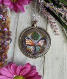 Monarch Butterfly Resin Necklace, Fire Opal Crystal Pendant