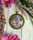 Monarch Butterfly Resin Necklace, Purple Opal Crystal Pendant