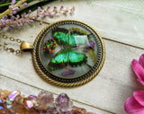 Black/Green Butterfly Resin Necklace, Opal Crystal Pendant