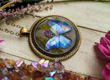 Blue Butterfly Resin Necklace, Pink Opal Crystal Pendant