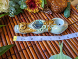 Faceted Labradorite Deluxe Rainbow Blue Pipe with Honey Bee and Owl Glow in the Dark Porcelain Pipe