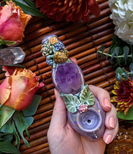 Amethyst Cluster Deluxe Purple Pipe with Sea Turtle Succulents, Glow in the Dark Porcelain Smoking Pipe