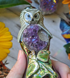 Druzy Amethyst Moon Deluxe Pipe with Snow Owl, Luna Moth, Glow in the Dark Porcelain Smoking Pipe
