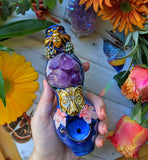 Amethyst Cluster Deluxe Pipe with Owl, Bear Glow in the Dark Porcelain Smoking Pipe